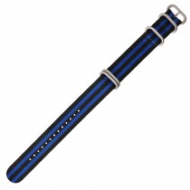 Black & Royal Blue Multi Colored 22mm Nylon Military Watch Strap With Four Rings