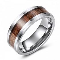 Tungsten Wedding or Fashion Band with Wood Grain Inlay