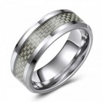 TUNGSTEN WEDDING OR FASHION RING WITH CARBON FIBER INLAY