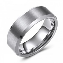 Matte Finish Beveled Edge Tungsten Wedding or Fashion Ring - 8MM