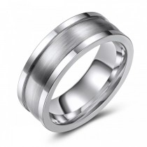 Two Tone Textured Cobalt Wedding Band - 8MM