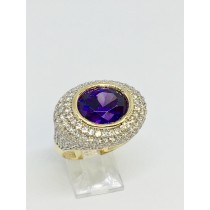 14K Yellow Genuine Amethyst Cocktail Ring