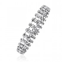 High Polished Steel Barrel Link Bracelet