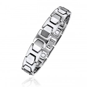 """High Polished Tungsten Magnetic Therapy Bracelet with """"I"""" Links"""