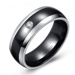 Black Ceramic and Tungsten Wedding or Fashion Ring with Cubic