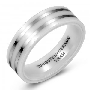 White Ceramic and Tungsten Striped Wedding or Fashion Ring